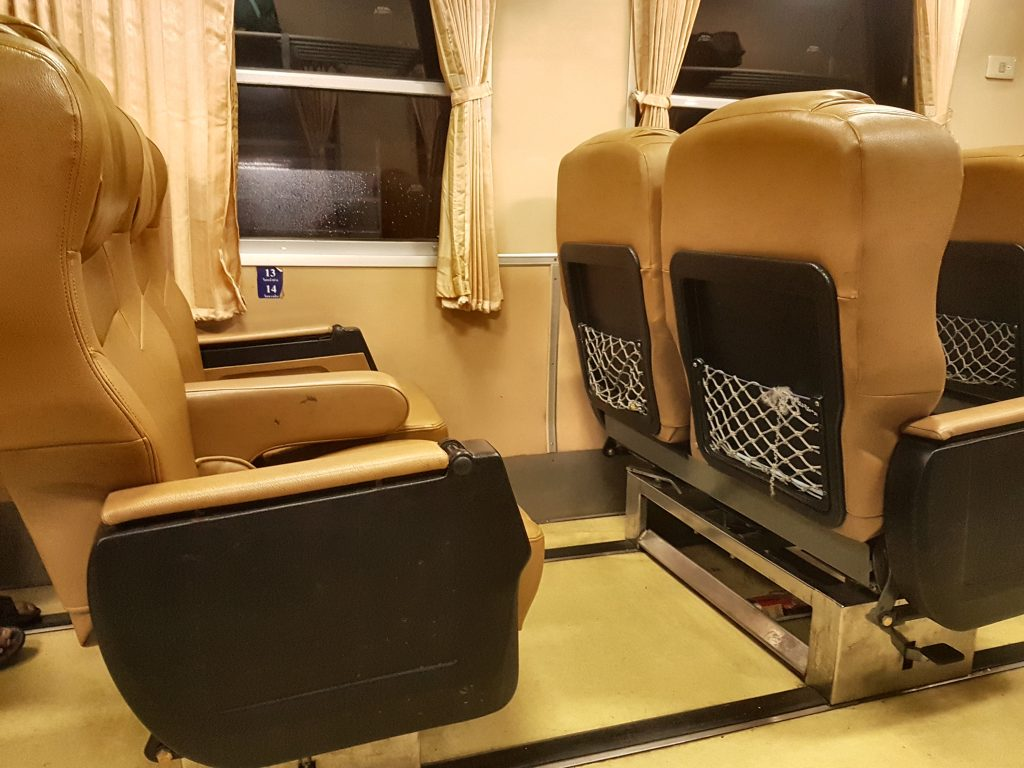 The Trains in Thailand can be pretty comfy as well, as seen in this photo