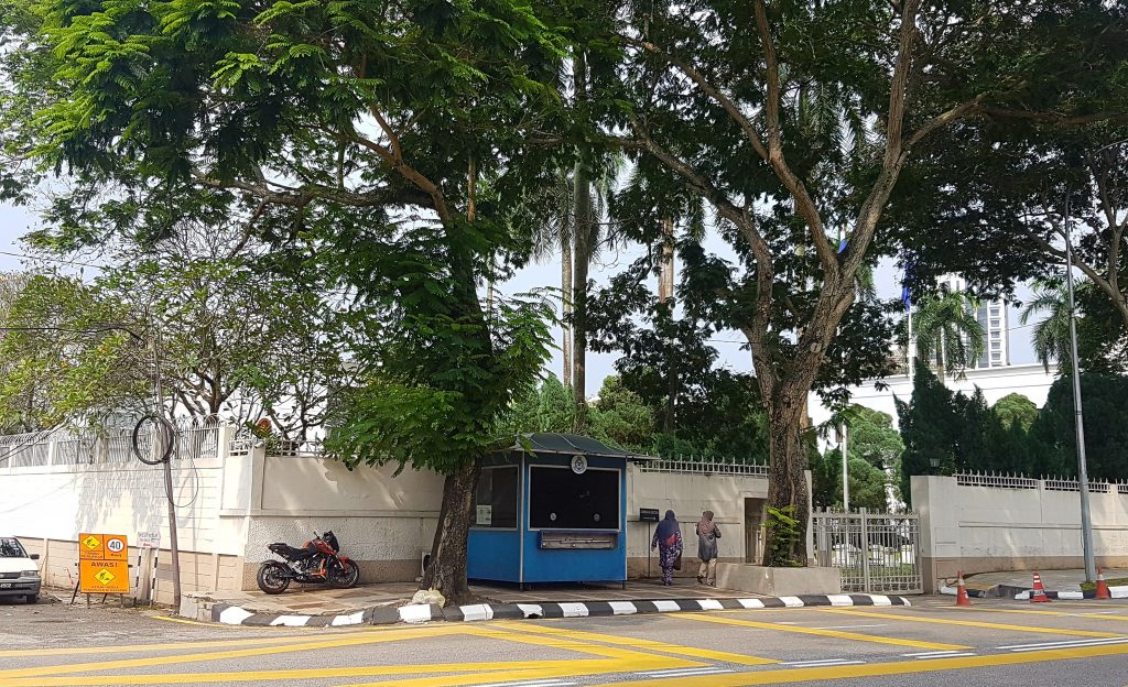The street view of the Thai embassy in Kuala Lumpur, showing a blue booth which is where the embassy is at